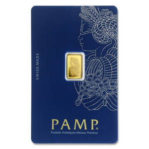 2.5 gram gold bar from PAMP Suisse