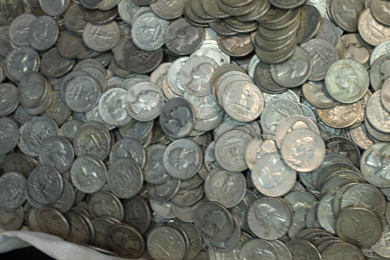 Bag full of Junk Silver Quarters