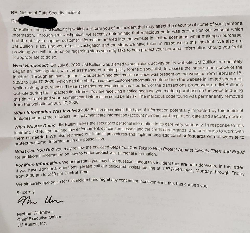 jm-bullion letter to customers of website hack and data leak