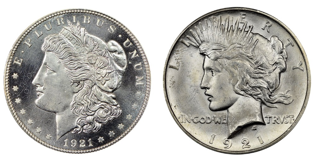 Designs of the 1921 Morgan and 1921 Peace Dollars
