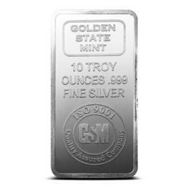 Compare silver prices of 10 oz Golden State Mint Silver Bullion Bar .999 Fine