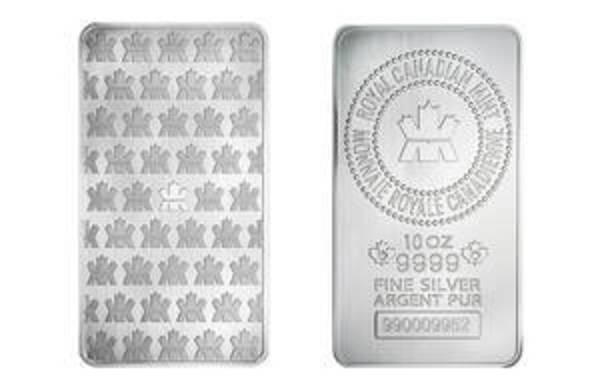 Compare silver prices of 10 oz Silver Bars Royal Canadian Mint (RCM)