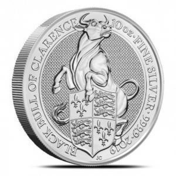 Compare silver prices of 2019 British Queen's Beasts - Black Bull of Clarence 10 oz Silver Coin