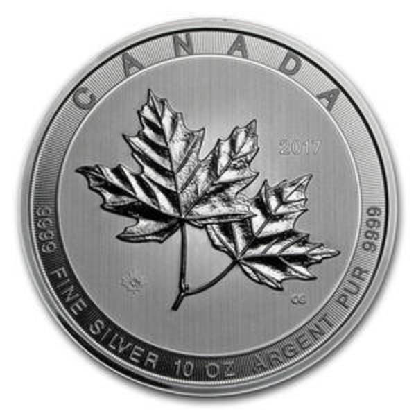 Compare silver prices of 2017 Canada 10 oz Silver $50 Magnificent Maple Leaves