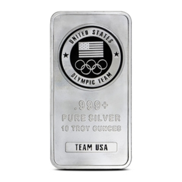 Compare silver prices of 10 oz U.S. Olympic Team Silver Bar