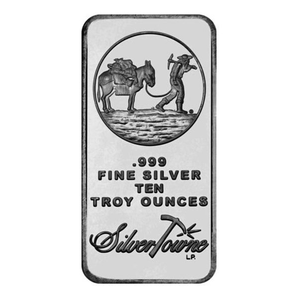 Compare silver prices of 10 oz Silvertowne Prospector Silver Bar
