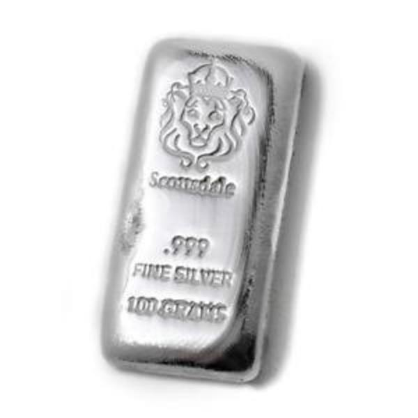 Compare silver prices of 100 Gram Cast Silver Bar by Scottsdale Mint .999 Silver Bullion