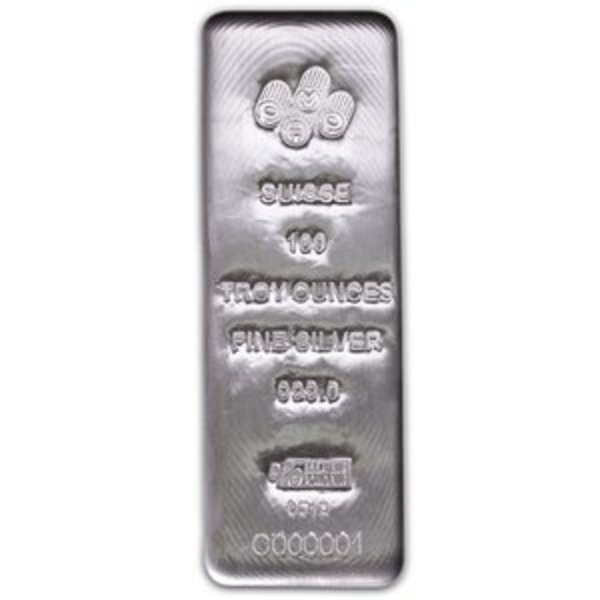 Compare silver prices of 100 oz PAMP Suisse Silver Cast Bar