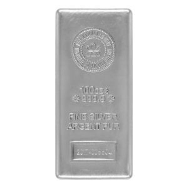 Compare silver prices of Canadian 100 oz Silver Bar - Royal Canadian Mint (RCM)
