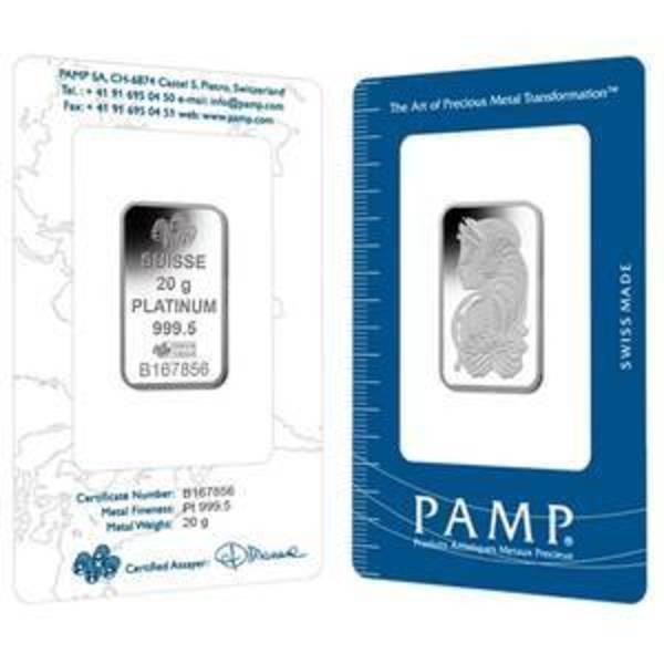 Compare cheapest prices of 20 Gram PAMP Suisse Platinum Bar