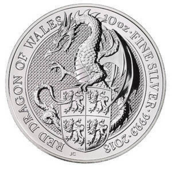 Compare silver prices of 2018 10 oz Silver Queen's Beasts - Red Dragon