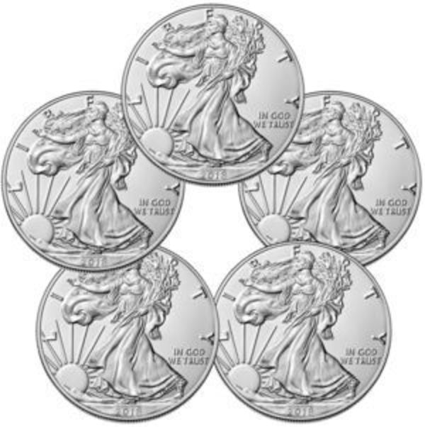Lot of (5) 2018 Silver Eagles