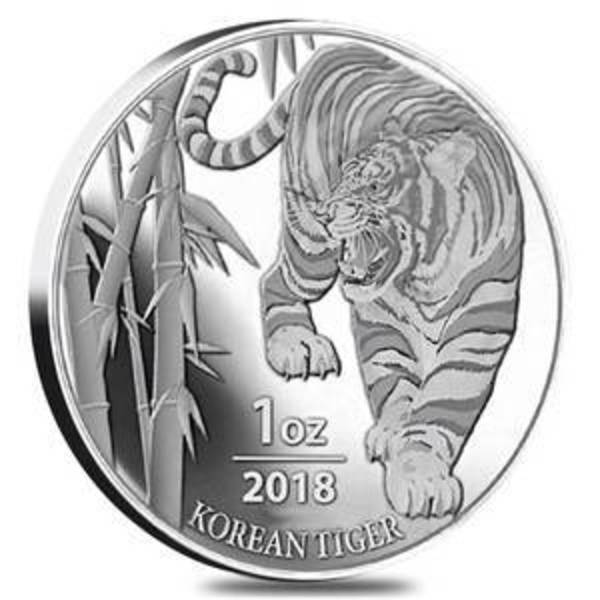 Compare silver prices of 2018 1 oz South Korean Tiger Silver Coin
