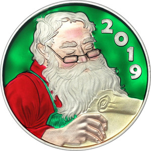 2019 Christmas One 1 Ounce Round .999 Pure Silver SANTA IN SLEIGH