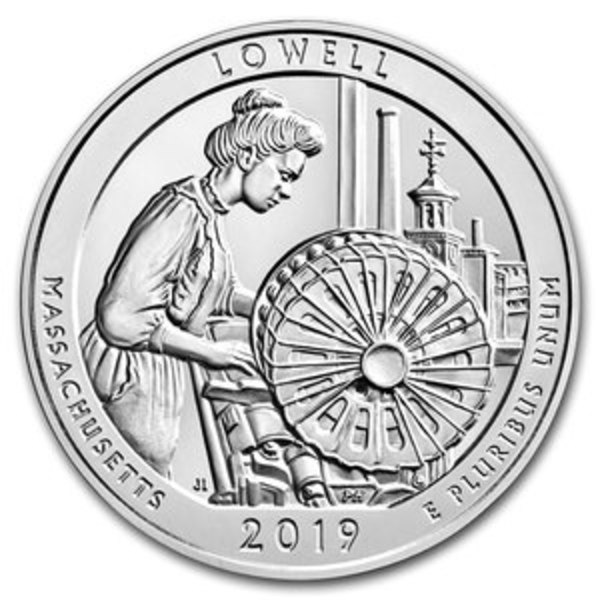 Compare silver prices of 2019 ATB Lowell National Historical Park, MA 5 oz Silver Coin