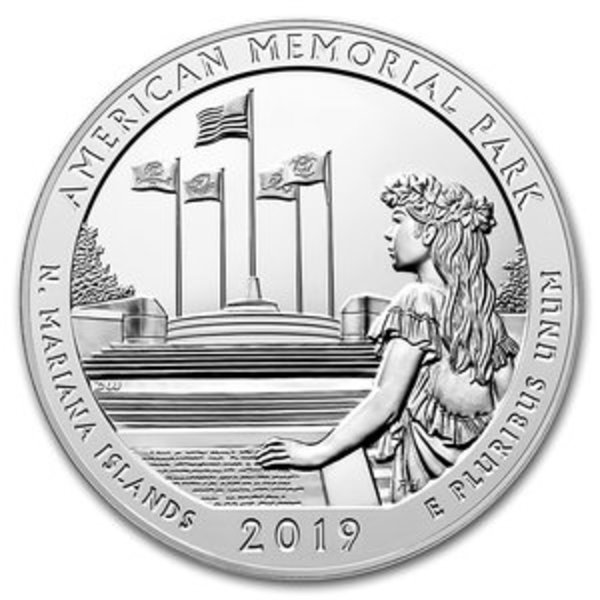 Compare silver prices of 2019 ATB Mariana Islands, American Memorial Park Silver 5 oz Coin