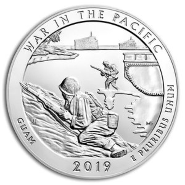 Compare 2019 ATB War in the Pacific National Hist. Park Silver 5oz Coin prices