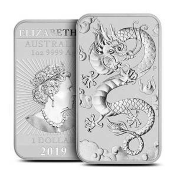Compare silver prices of 2019 1 oz Australian Rectangular Silver Dragon Coin