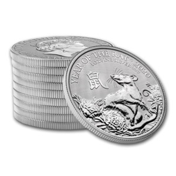 Compare silver prices of 2020 Great Britain 1 oz Silver Year of the Rat