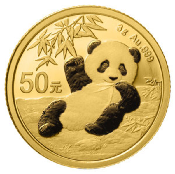 Compare gold prices of 2020 Chinese 3 gram Gold Panda Coin ¥50