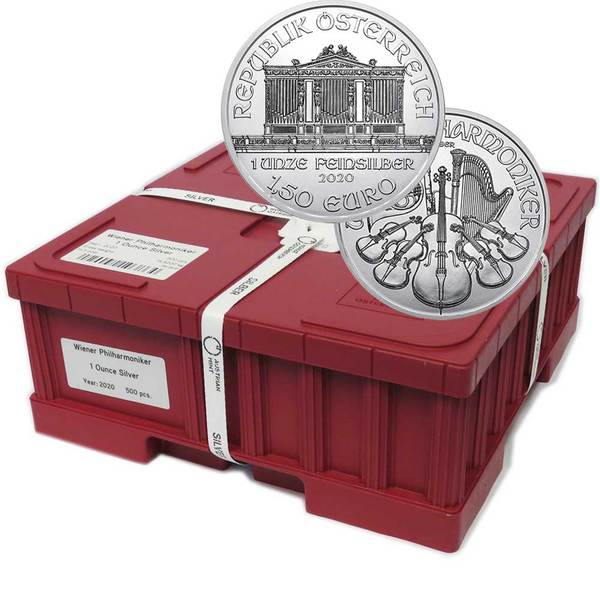 Compare silver prices of 2020 1 oz Silver Austrian Philharmonic Monster Box