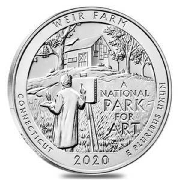 Compare silver prices of 2020 ATB Weir Farm National Historic Site 5 Oz Silver Coin