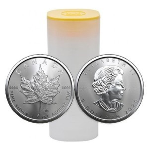 Compare silver prices of 2020 Canadian Maple Leafs 1 oz Silver 25-Coin Roll (tube)
