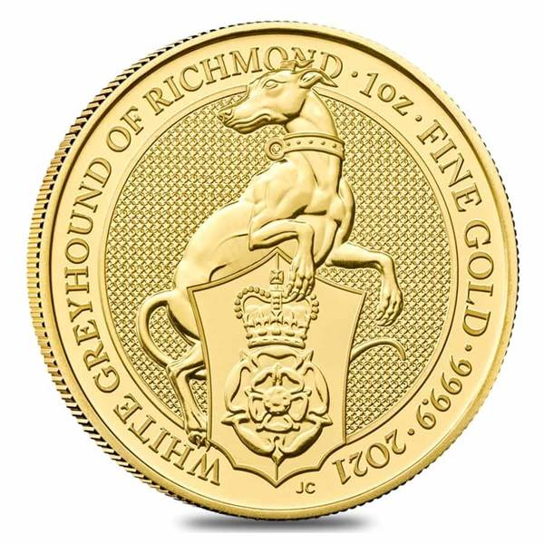 Compare gold prices of 2021 Queen's Beasts 1 oz Gold Coin - The White Greyhound of Richmond