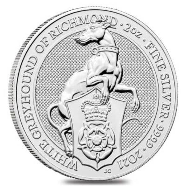 Compare silver prices of 2021 Queen's Beasts 2 oz Silver Coin - The White Greyhound of Richmond