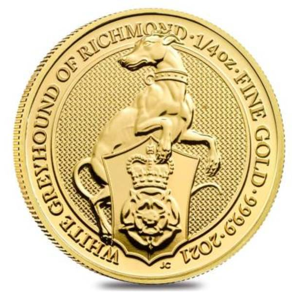 Compare gold prices of 2021 Queen's Beasts 1/4 oz Gold Coin - The White Greyhound of Richmond