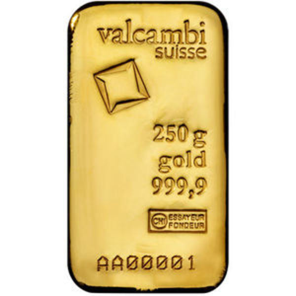 Compare gold prices of 250 gram Valcambi Cast Gold Bar