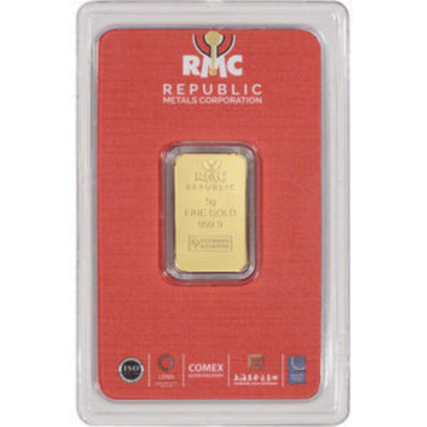Compare 5 gram RMC Gold Bar - Republic Metals Corp prices
