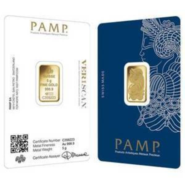 Compare gold prices of 5 gram PAMP Suisse Gold Bar (In Assay Card)