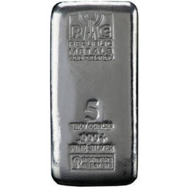 Compare silver prices of 5 oz (RMC) Republic Metals Cast Silver Bar