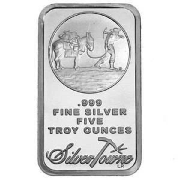 Compare silver prices of 5 oz Silver Bar - SilverTowne Prospector Design