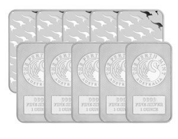 Buy Lot of 5 1 oz Kangaroo Bars from Bay Precious Metals
