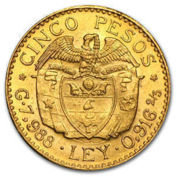 Compare cheapest prices of 1919-1930 Colombia Gold 5 Pesos Random
