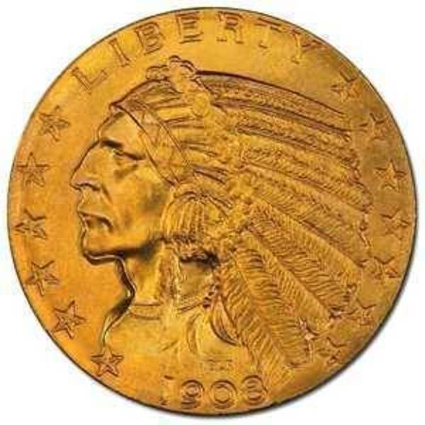 Compare gold prices of $5 Indian Head Half Eagle - 0.2419 Troy Ounce Gold
