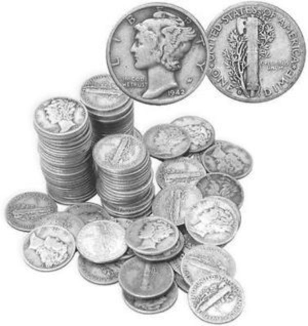 Compare silver prices of Mercury Dimes - 90% Silver - $5 Face Value