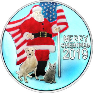 Compare silver prices of 2019 1oz Patriotic Santa Claus Christmas Silver Round Enameled