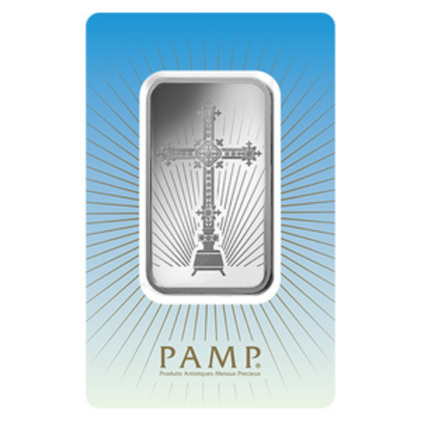 Compare silver prices of PAMP Suisse Romanesque Cross 1 oz Silver Bar