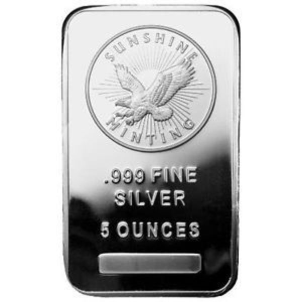 Compare silver prices of 5 oz Silver Bar - Sunshine (MintMark SI)