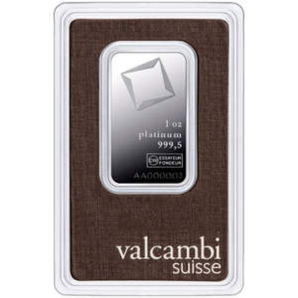 Compare platinum prices of 1 oz Platinum Bar - Valcambi (In Assay)